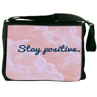 Snoogg Stay Positive Designer Laptop Messenger Bag