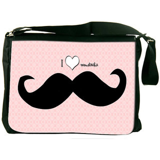 Snoogg I Love Mustache Designer Laptop Messenger Bag