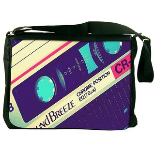 Snoogg Vintage Casettes Designer Laptop Messenger Bag
