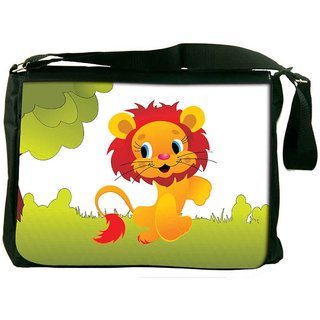 Snoogg Cute Animal Lion Designer Laptop Messenger Bag