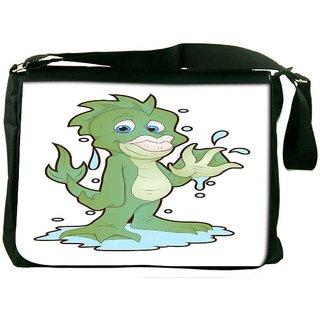 Snoogg Cute Water Monster Cartoon Character Designer Laptop Messenger Bag