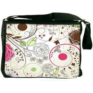 Snoogg Retro Floral Background Designer Laptop Messenger Bag