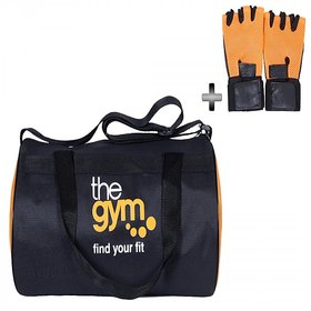 Dee Mannequin Black Orange Fabric Gym Bag and Gym Gloves Combo
