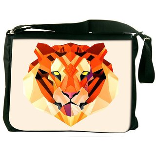Snoogg Polygon Tiger 2896 Digitally Printed Laptop Messenger  Bag