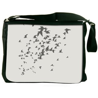 Snoogg Birds Pattern Grey 2914 Digitally Printed Laptop Messenger  Bag