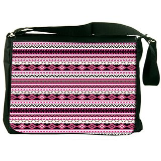 Snoogg Loud Aztec Pink And Black Designer Laptop Messenger Bag