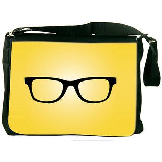Snoogg Hipster Glasses Yellow Designer Laptop Messenger Bag