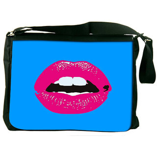 Snoogg Pink Lips Designer Laptop Messenger Bag