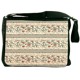 Snoogg Floral Pattern Red And Cream DesignerLaptop Messenger Bag