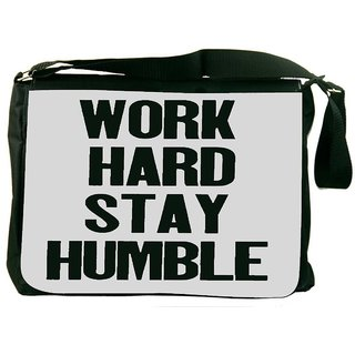 Snoogg Work Hard Stay Humble DesignerLaptop Messenger Bag