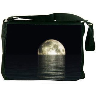Snoogg Digital Visualization Of A Moonset Designer Laptop Messenger Bag
