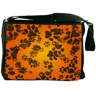 Snoogg Dog Paws Orange Background Designer Laptop Messenger Bag