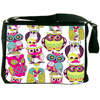 Snoogg Eamless Owl Pattern Designer Laptop Messenger Bag