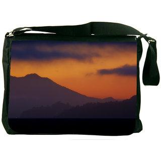 Snoogg Evening Landscape Background Designer Laptop Messenger Bag