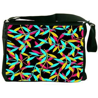 Snoogg Seamless Leaf Patternleaf Background Autumn Seamless Pattern Designer Laptop Messenger Bag