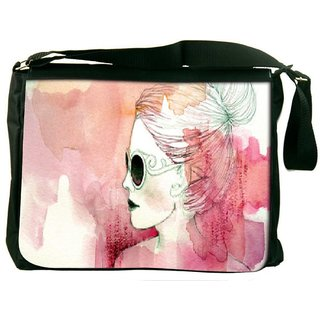 Snoogg White Lady Digitally Printed Laptop Messenger  Bag