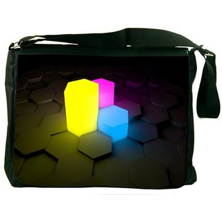 Snoogg Colorful Cubes Digitally Printed Laptop Messenger  Bag