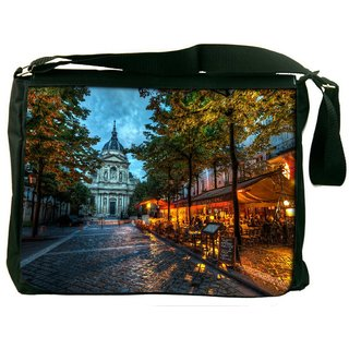 Snoogg Streets At Nite Digitally Printed Laptop Messenger  Bag