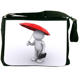 Snoogg 3D Character With Umbrella Designer Laptop Messenger Bag