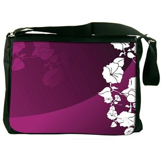 Snoogg Abstract Vector Wallpaper Of Floral Themes In Gradient Purple Designer Laptop Messenger Bag