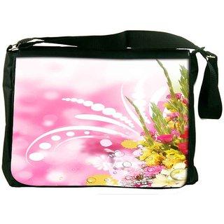 Snoogg Floral Corner Border With Blurred Background Digitally Printed Laptop Messenger  Bag
