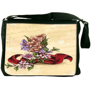 Snoogg Floral Vector Background Illustration With Bow And Floral Bouquet Digitally Printed Laptop Messenger  Bag