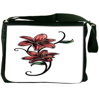 Snoogg Floral Vector Element Digitally Printed Laptop Messenger  Bag