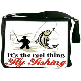 Snoogg Fly Fisherman Catching Trout With Fly Reel Designer Laptop Messenger Bag