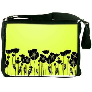 Snoogg Grass And Poppy Digitally Printed Laptop Messenger  Bag