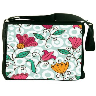 Snoogg Seamless Texture With Flowers And Butterflies Endless Floral Pattern Digitally Printed Laptop Messenger  Bag