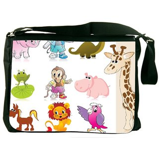 Snoogg Set Of Animal With Background Designer Laptop Messenger Bag