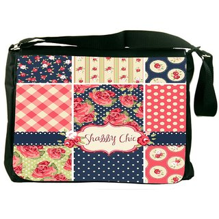 Snoogg Shabby Chic Rose Patterns And Seamless Backgrounds Designer Laptop Messenger Bag