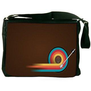 Snoogg Disc Table Digitally Printed Laptop Messenger  Bag