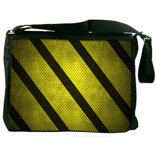 Snoogg Yellow Strips Digitally Printed Laptop Messenger  Bag