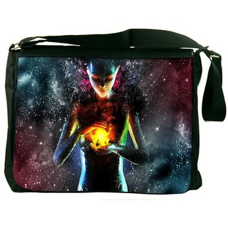 Snoogg Fire Women Digitally Printed Laptop Messenger  Bag