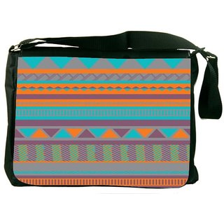 Snoogg Aztecprint Blue And Orange Digitally Printed Laptop Messenger  Bag