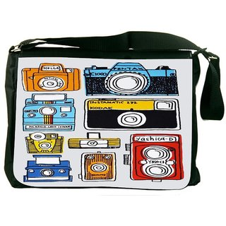 Snoogg Multi Camera Cartoon Digitally Printed Laptop Messenger  Bag