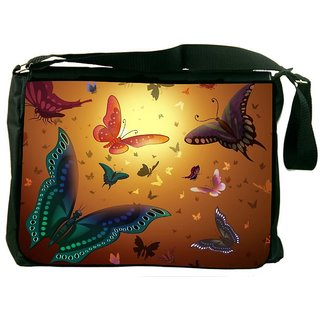 Snoogg Butterfly Pattern 2453 Digitally Printed Laptop Messenger  Bag