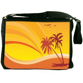 Snoogg Summer Design With Palm Tree And Rainbow Background Designer Laptop Messenger Bag