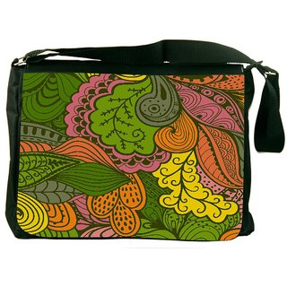 Snoogg Vector Abstract Texture With Abstract Flowers Endless Background Ethnic Designer Laptop Messenger Bag