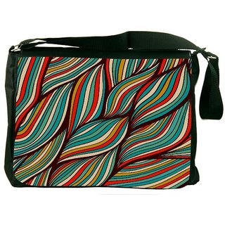 Snoogg Vector Hand Drawn Waves Texture Digitally Printed Laptop Messenger  Bag
