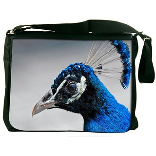 Snoogg Blue Peacock Digitally Printed Laptop Messenger  Bag