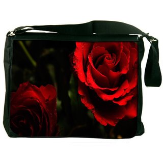 Snoogg Red Rose Digitally Printed Laptop Messenger  Bag