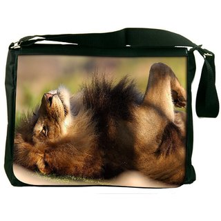Snoogg Lion Sleeping Digitally Printed Laptop Messenger  Bag