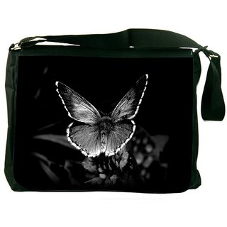 Snoogg Black And White Nature Digitally Printed Laptop Messenger  Bag