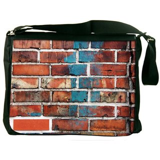 Snoogg Brick Wallpaper Digitally Printed Laptop Messenger  Bag