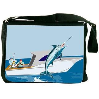 Snoogg Blue Marlin Fish Jumping Retro Designer Laptop Messenger Bag