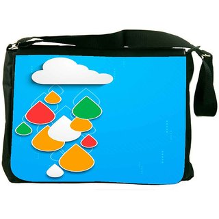 Snoogg Bstract Rainy Season Background With Cloud And Colorful Water Drops Designer Laptop Messenger Bag
