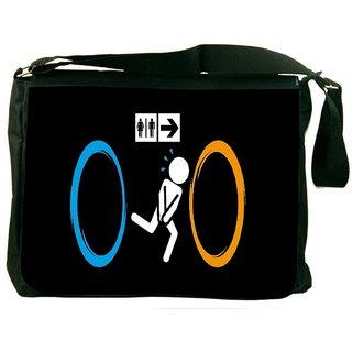 Snoogg Washroom Digitally Printed Laptop Messenger  Bag