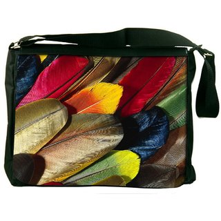Snoogg Plumas De Colores Digitally Printed Laptop Messenger  Bag